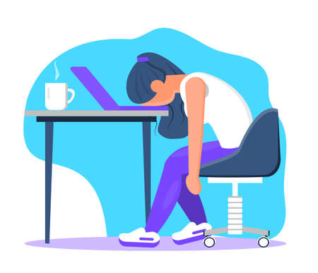 Burnout in professional life, emotional collapse concept vector. Tired frustrated freelancer is sitting at the table. Young woman in stress in the office. Brainstorming is out. Unsolved working tasks.