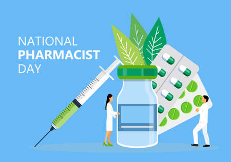 National Pharmacist Day is celebrated in January 12. Doctor of pharmacy is working in drugstore and standing near medicine pills, bottle. Staff helps to choose medicaments. Healthcare concept vector.