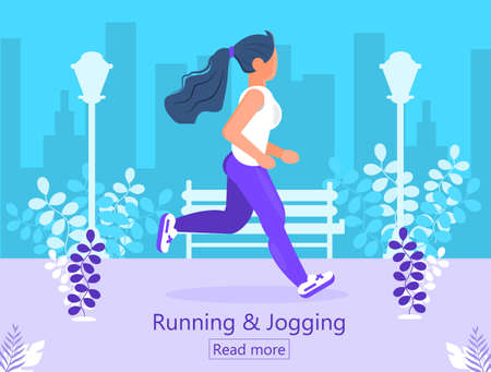 Running and jogging landing page. Woman is running in city park. Marathon, city run, training, cardio exercising. Outdoor activity, fitness, losing weight program vector in flat style. Reklamní fotografie