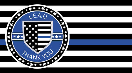 Law Enforcement Appreciation Day is celebreted in USA on January 9th each year. Police shild with US flag and L.E.A.D. slogan. Flat vector with stars for flyer, card, web, banner, emblem, background. Ilustrace