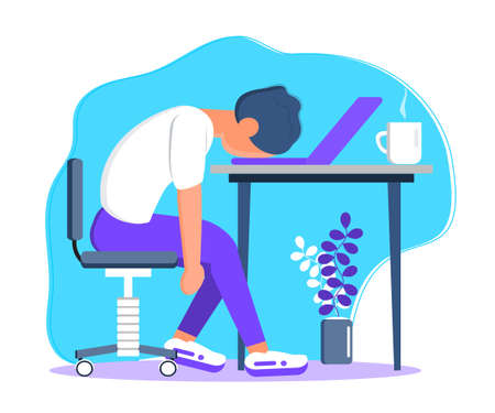 Burnout in professional life, emotional collapse concept vector. Tired frustrated freelancer is sitting at the table. Young man in stress in the office. Brainstorming is out.