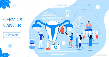 Cervical Cancer concept vector for medical website. Tiny doctors examine uterus with magnifier to to cauterize erosion, examine the papilloma.
