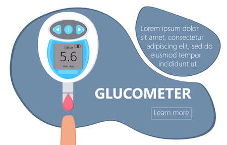 Glucometer for measuring sugar level of diabetics. Blood glucose testing meter, tiny doctors. Type 2 diabetes and insulin production concept vector Ilustrace