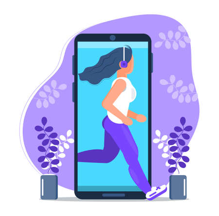 Digital detox. Young woman character runs out of the mobile phone screen. Girl steps out mobile device and jogs. Millennial user. Internet opt-out, trendy vector illustration in flat style.