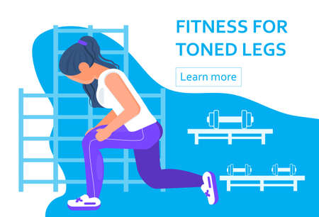 Fitness for toned legs. Woman doing lunges to work thighs, butt. Workout, exercise for strong legs. Pilates, scratching concept vector. Active life, weight loss in gym for website, landing page.