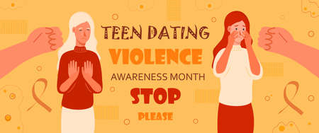 Teen dating violence awareness month is celebrated in February on USA. Victim scene. Stressed person in shame and hands with pointing finger. Concept of accusation in life, depression of teen.