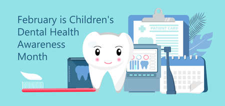 Childrens Dental Health Awareness Month in February concept vector. National Dental Hygiene Month, week, day. Tiny dentist cleaning cute tooth to help toothache, to whiten enamel.
