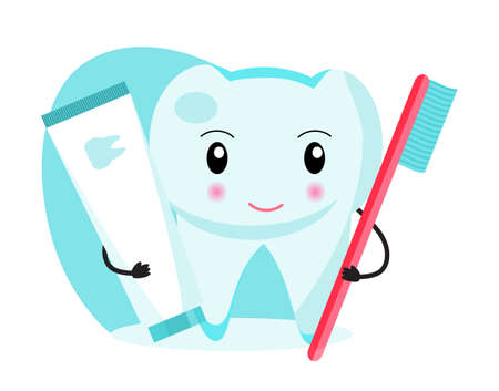 Funny tooth is holding a toothbrush and toothpaste. National Dental Hygienemonth, week, day. Dentistry concept vector for children.