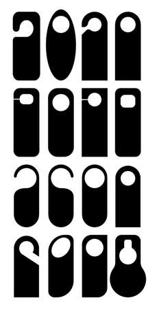 Hangers set vector icon. Paper, plastic, cardboard door lock cards isolated on white background. Dont disturb, calm, and clean door hanger tags for apartments and room in hostel hotel, dorms.