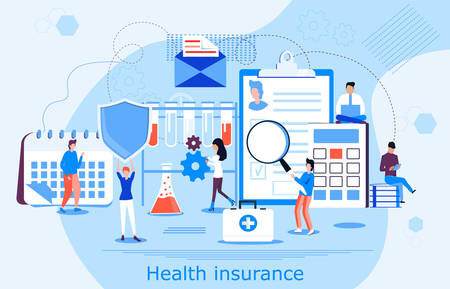 Healthcare insurance vector concept, people with doctor filling health online assurance policy. Shield, calendar, patient card are shown. Insurance broker offer coverage of life.
