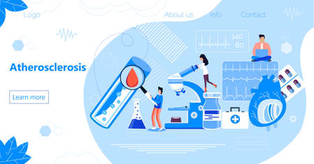 Atherosclerosis is treated by tiny doctors. High cholesterol blood pressure concept vector illustration . It is healthcare landing page, website, app, banner.