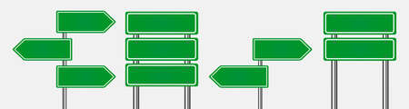 Green road signs. Blank traffic label are empty. Caution, attention, stop banners are shown for transport. Safety, danger, boards street guide vector for route.