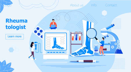 Rheumatologist concept for website. Tiny doctors treat rheumatism, osteoarthritis. Arthritis flat concept vector on the blue background for national healthcare day, week.