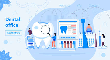 Dental office vector concept for landing page. Tiny dentists help toothache, treat pulpitis, caries, to whiten enamel or recovery implant. National Hygiene month, awareness week, day.