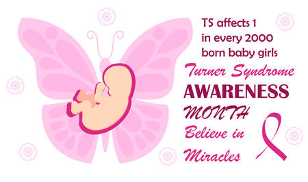 Turner Syndrome awareness month is celebrated ib February. Pink butterfly symbol vector on white background . Believe in miracles text and crimson ribbon. Signs, health issues of TS are shown. Çizim