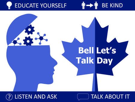 Bell Lets Talk Day is celebrated on the last Wednesday of January in Canada. I is about mental illnesses. Mentality healthcare of brain problem vector. Psychiatry, apathy, schizophrenia illustration.