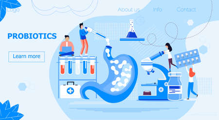 Tiny doctors give stomach probiotic bacteria, lactobacillus. Healthcare landing page, immunity support concept vector for horizontal banner, poster, flyer, website. Symbol of useful milk