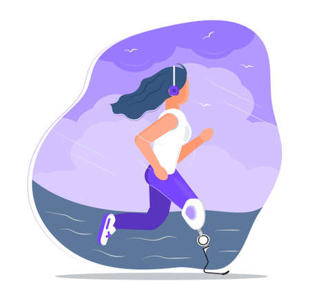 Disabled runner with leg prosthesis. Woman runs along beach. Paralympic athlete jogs, trains before marathon. Disability day, month. Invalid person in active Ilustracja
