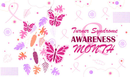 Turner Syndrome awareness month is celebrated in February. Pink butterflies and falling tropical colorful leaves on white background. Crimson ribbon is symbol Banque d'images - 140673541