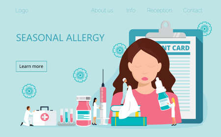 Allergy attack because of spring flowers. Girl is sneezing, is needed medical care. Tiny allergists make allergy diagnosis, treat pollen allergy. Immunotherapy concept vector
