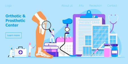 Vecteur de concept de prothèse et de centre orthopédique pour le site Web. De petits médecins proposent des prothèses de jambe de coureur. Membre en métal bionique pour l'homme. Jour d'invalidité, mois. Assistance médicale pendant un mois.