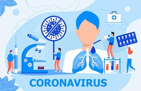 Coronavirus-Konzeptvektor für Landingpage, Banner, Poster. Winzige Ärzte behandeln Patienten. CoV-Zeichen stoppen. Reanimation, Lungenbeatmung, um einen infizierten Mann zu retten. Pandemiesituation, Wissenschaft