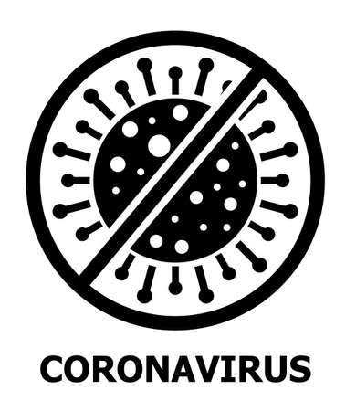 Coronavirus icon vector for web. Stop CoV caution sign. Stop virus symbol. Pandemic dangerous, biological