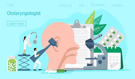 Otolaryngologist vector web template for landing page, header. Tiny doctors treat and exemine patient ear, nose and throat. Otolaryngology health careconcept. Rally and various deaf awareness