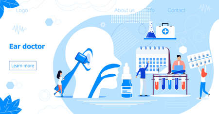 Ear doctor vector web template for landing page, header. Tiny doctors treat and exemine patient ear, nose and throat. Otolaryngology health careconcept. Rally, seminar and various deaf awareness Vektorgrafik