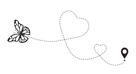 Double love butterfly route. Romantic travel simbol, heart dashed line trace. Simple hearted path, dotted love valentine day drawing isolated
