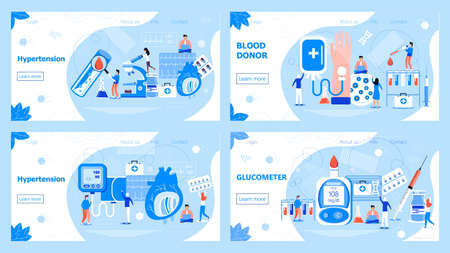 Hypotension and hypertension disease vector. Increased blood pressure and diseases of the cardiovascular system. Blood donor tiny people character. Glucometer for measuring sugar level