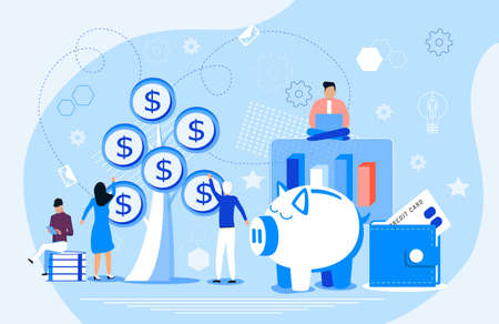 Planting money tree vector. Zero based budget concept. Business investment and financial growth illustration with tiny people. Save money, budget planning, and financial expenses for website