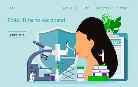Polio vaccination vector. Time to vaccinate. Medical illustration syringe with vaccine, bottle for website, apps. Tiny doctor gives poliomyelitis drops Ilustracja