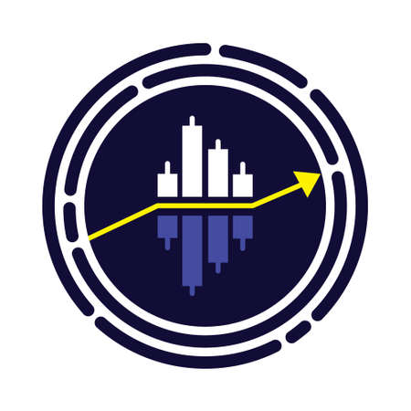 Trading forex icon vector. Bue stock market sign. Simple binary options illustrations. Arrow rises up inside of target.