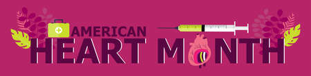 American Heart Month in US in February. Horizontal healthcare banner. Heart diseases vector with medical bag and syringe. Medical poster with leaves. Annual protection campaign Zdjęcie Seryjne