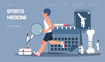 Athlete runs or jogs and tiny physicians treat and research injuries. Sports medicine vector concept for landing page. Sports medical services, doping control Zdjęcie Seryjne