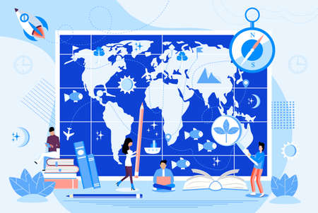 Atlas with metrics, compass, and oceans concept vector. Tiny geographers study earth. Geography and topography research illustration. Teacher in front of map in school or university. Иллюстрация