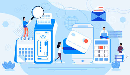 NFC terminal concept vector. NFC payments by bank credit card. POS terminal confirms e-payment using smartphone. Tiny customers make contactless or wireless purchase. Online banking service.