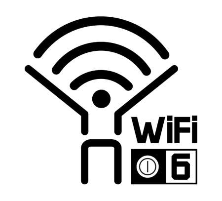 New wireless generation logo. High network bandwidth illustration on white background. Wifi 6 certified router and new generation telecommunication for network connectivity.