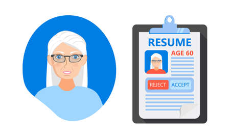 Recruitment ageism concept vector. HR agency age discrimination and cv of senior employee. Unfair employment problem with older people in career rejection. Company don't want to hire people aged 60.