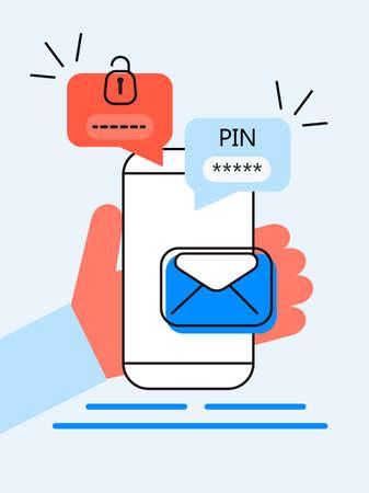 Code PIN de vérification, message de code de sécurité. Smartphone avec e-mail, bulle de discussion. Vérification en ligne dans le système de contrôle pour compte personnel, banque. Authentification en deux étapes Vecteurs