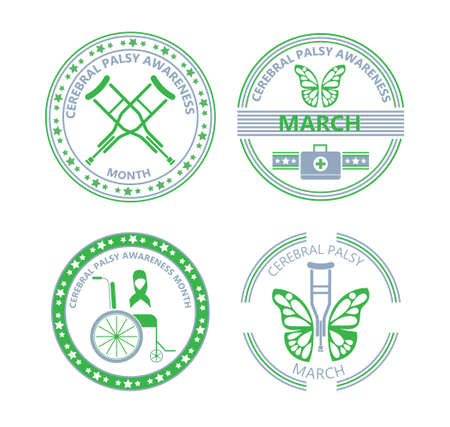 Cerebral Palsy Awareness Month in March. Grey and green emblems with wheelchair and crutches. Banners with butterfly is symbol of disability and inclusion.
