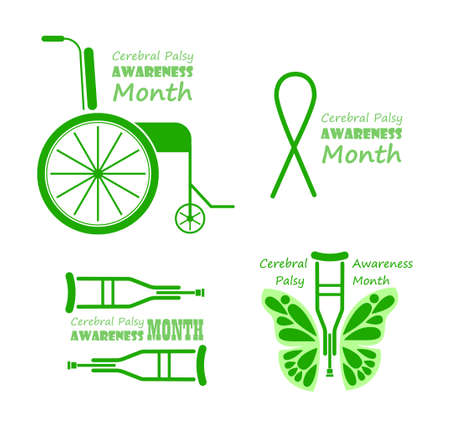 Cerebral Palsy Awareness Month in March. Grey and green emblems with wheelchair and crutches. Banners with butterfly is symbol of disability