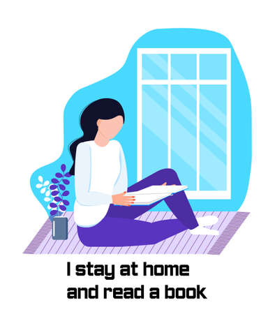 Coronavirus prevention concept vector. Girl is siitting on the carpet, reading a book and asking that everybody stays at home. Social campaign and support people