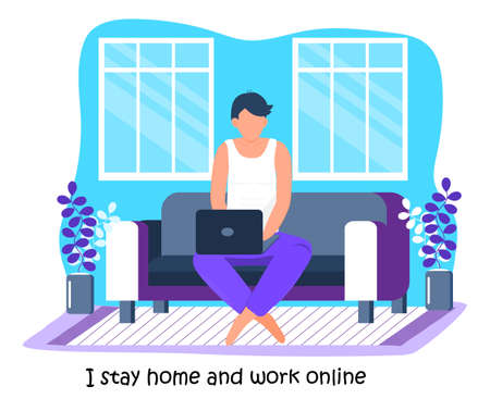 Coronavirus prevention concept vector. Man does different activities and ask to everybody stays at home. Social campaign and support people in self-isolation.