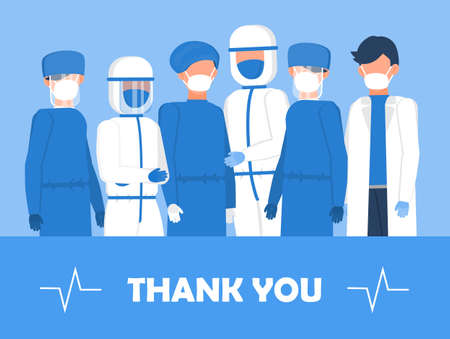 Thank you doctors and nurses working in the hospitals. Intensive care unit clinic with air oxygen sensor is shown on the background. Thanks to doctors for fighting the coronavirus.