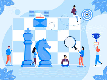 Chess game concept vector. People work. Business, marketing strategy illustration. Successful teamwork and competition scene. Tiny people play with Queen, Knight in chess.