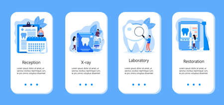 Tiny dentists make x-ray scan of teeth. Whiten enamel or recovery implant concept. Professionals treat illness tooth. Dental services vector concept for app