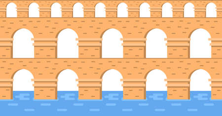 Stone bridge aqueduct vector. City architecture element and ancient bridge-construction across the river with carriageway isolated