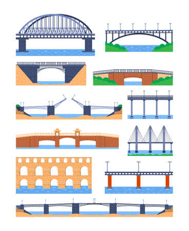 Set of metal and stone bridges vector. City architecture element and bridge-construction across the river with carriageway isolated and lanterns on colourful landscape Illustration